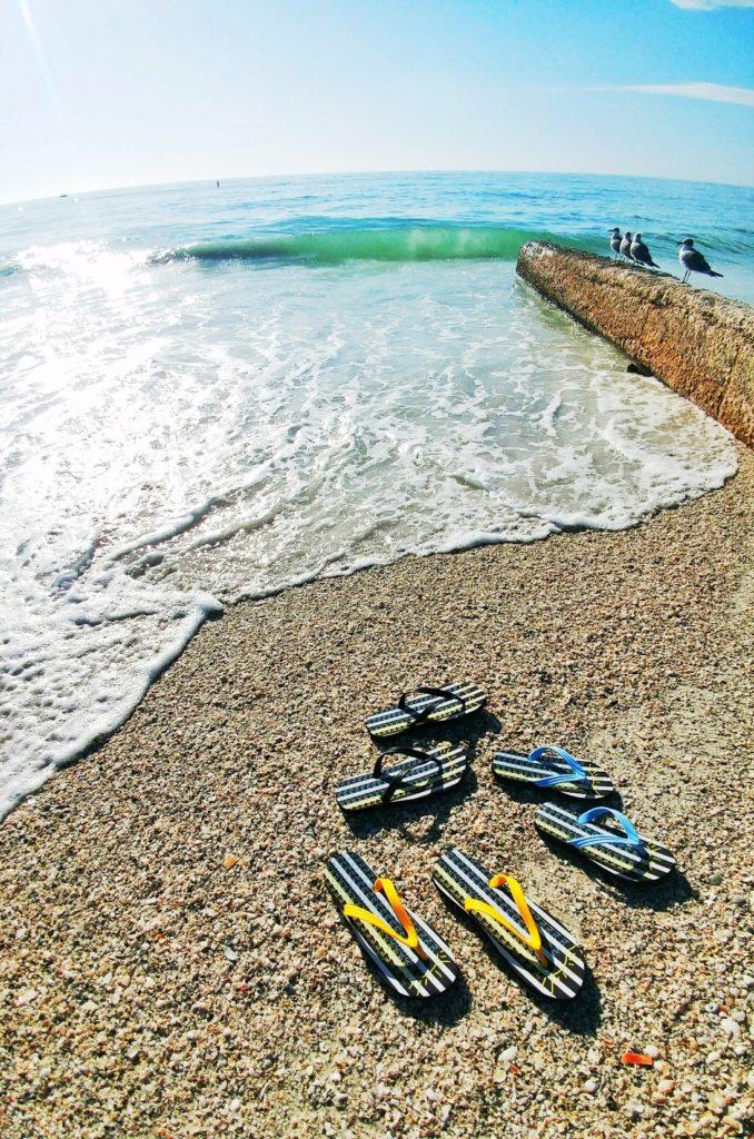 flip flops on anna maria island beach