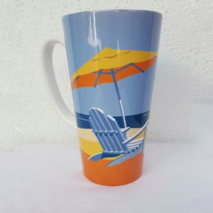 coffee mug with beach on it