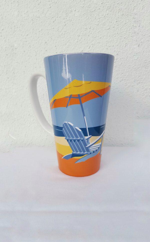 coffee mug with beach on it